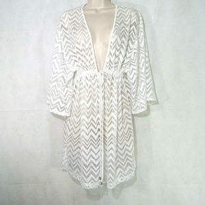Dotti Sheer Swim Beach Cover Up Tie Front Size L
